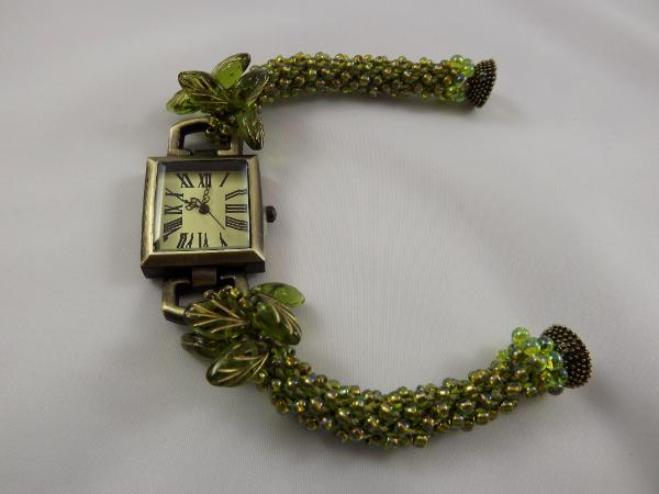 W-1 Watch with Olive Green Crocheted Rope Band