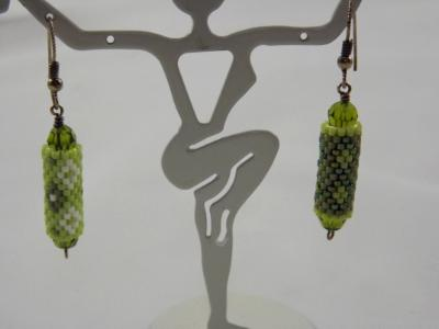 E-61 Shades of Green Bead Tube Earrings