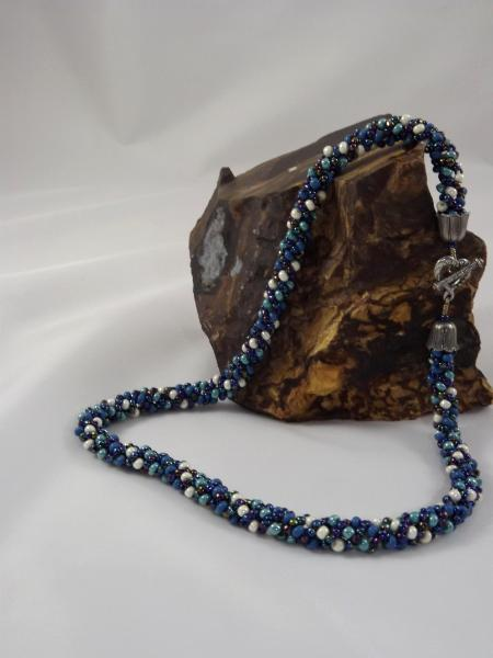 N-5 Shades of Blue Russian Spiral Necklace