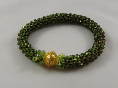 B-71 sparkling dark olive crocheted rope bracelet