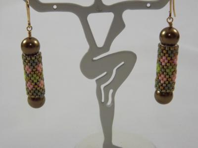 E-104 Pink & Shades of Olive Bead Tube Earrings with Pearls