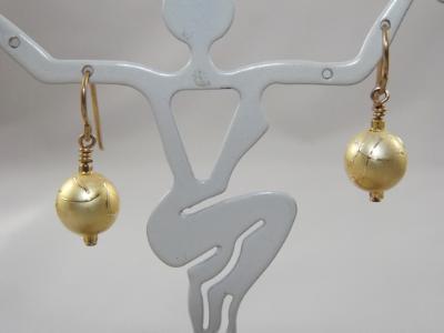 E-38 Matte Gold Ball Earrings