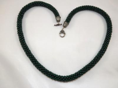 N-31 Dark Forest Green Crocheted Rope Necklace