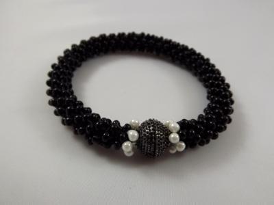 B-69 black crocheted rope bracelet