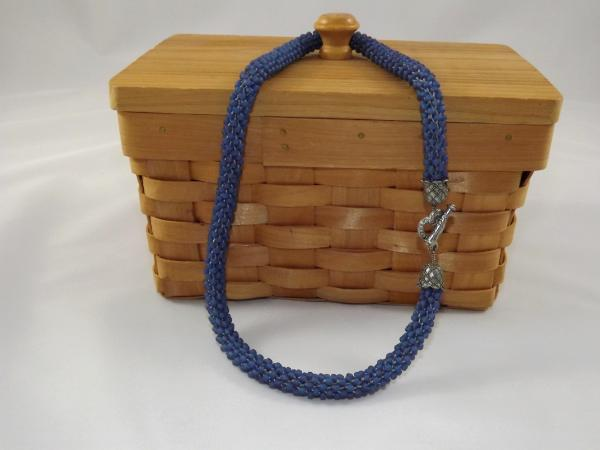 N-56 Matte Slate Blue Crocheted Rope Necklace