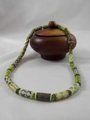 N-26 Shades of Green Bead Tube Necklace