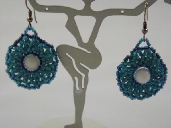 E-19 Turquoise Beaded Medallion Earrings