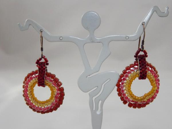 E-35 Dark Red & Gold Beaded Medallion Earrings