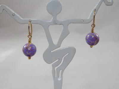 E-37 Lavender & Gold Ball Earrings