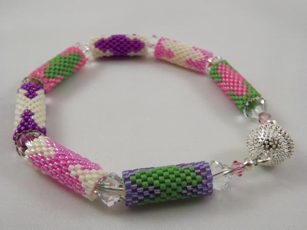 B-33 pink, purple, ivory, & green bead tube bracelet