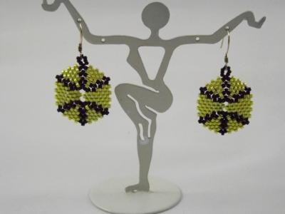 E-13 Lime Green 7 Black Hexagon Earrings
