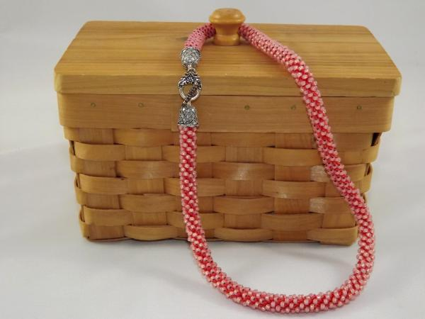 N-46 Coral Crocheted Rope Necklace