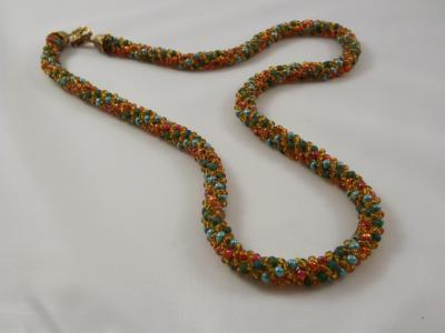 N-22 Dark Green, Pearly Turquoise, Copper, & Transparent Gold Russian Spiral Necklace