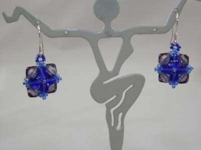 E-113 Blue Flower Earrings