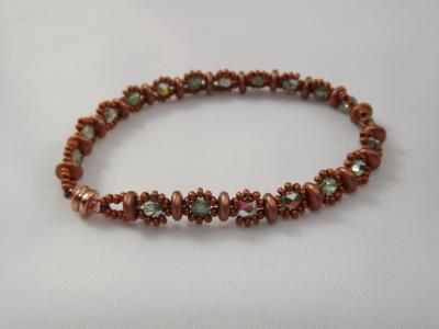 B-85 copper lentil bead bracelet