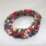 B-41 red, blue, peach, & green spikey bracelet