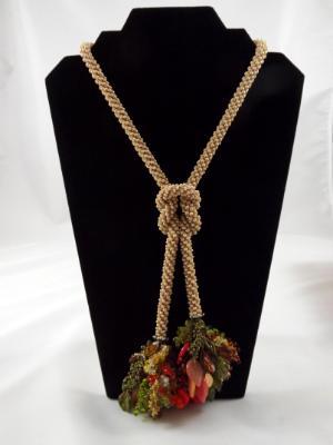 N-10 Ecru Crocheted Rope Tassel Necklace
