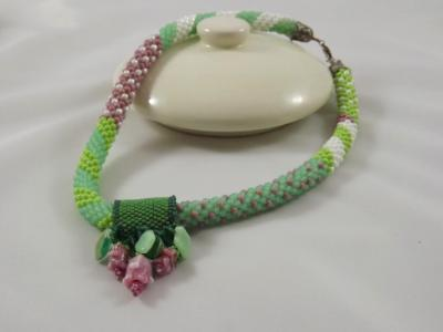 N-28 Pink, Green, & White Patchwork Necklace with Removable Pendant