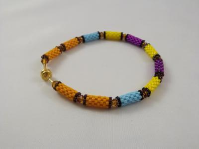 B-22 purple & yellow bead tube bracelet