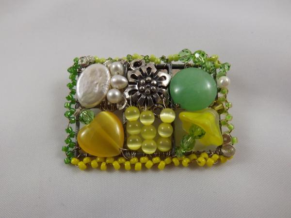 Green & Yellow Mosaic Brooch