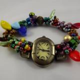 W-2 Watch with Multicolored Crocheted Band