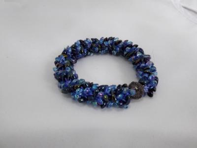B-59 blue & black spikey bracelet