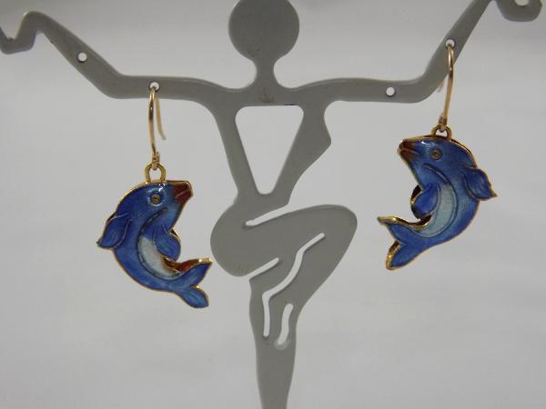 E-49 Cloissone Blue Dolphin Earrings