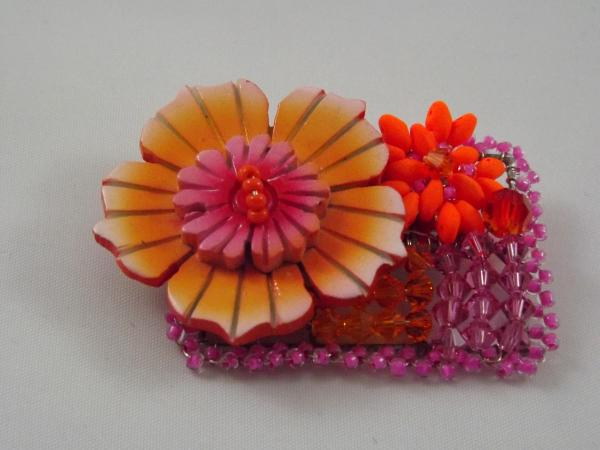 Orange Flower Brooch ,