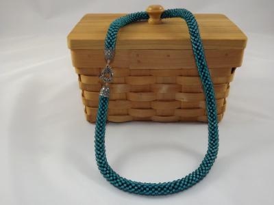 N-59 Turquoise Crocheted Rope Necklace