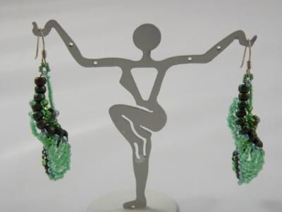 E-23 Mint Green Beaded Earrings