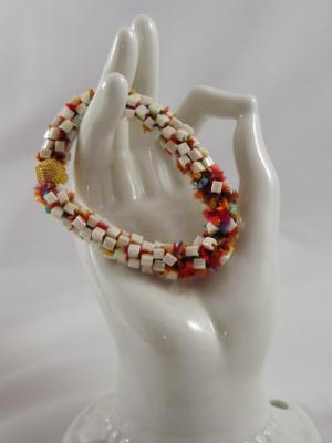 B-108 ivory cube bead bracelet