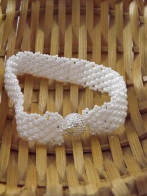 B-79 white woven bracelet