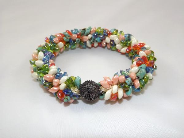 B-40 orange, blue, ivory, peach, & green spikey bracelet