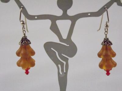 E-16 Matte Amber Flower Earrings
