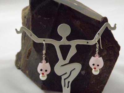 E-85 Pink Cat Earrings