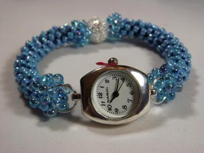 W-5 Light Blue Beaded Watch