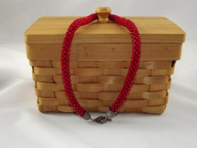 N-35 Red Crocheted Rope Necklace