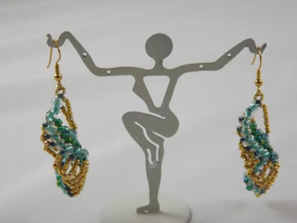 E-24 Gold & Aqua Beaded Earrings