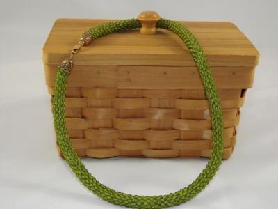 N-48 Olive Green Crocheted Rope Necklace