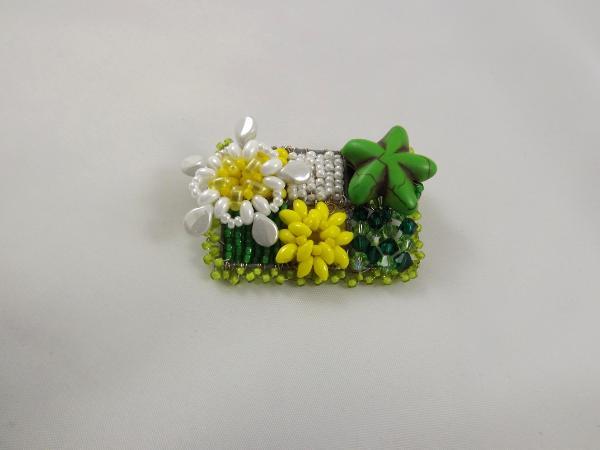 Green, Yellow, & White Flower Brooch