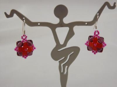 E-112 Orange Flower & Amethyst Cube Bead Earrings