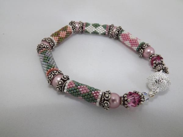 B-56 pink & green bead tube bracelet