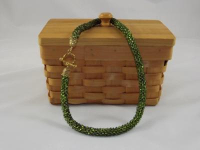 N-44 Sparkling Olive Green Crocheted Rope Necklace