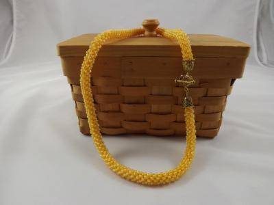 N-55 Golden Yellow Crocheted Rope Necklace