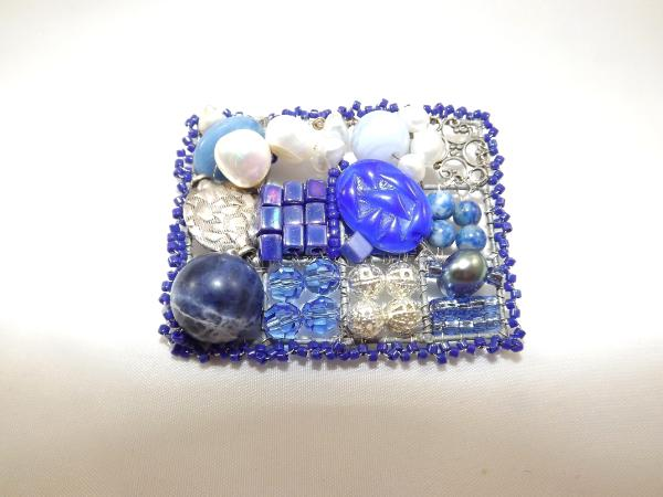 Shades of Blue Mosaic Brooch