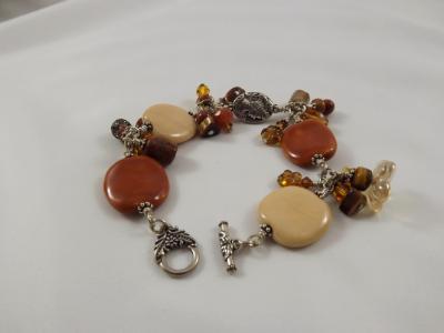 B-3 earthtone kazuri bead charm bracelet