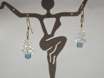 E-1 Swarovski Clear Crystal Tree Earrings