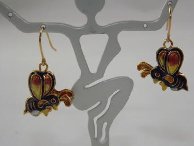 E-74 Cloissone Bee Earrings