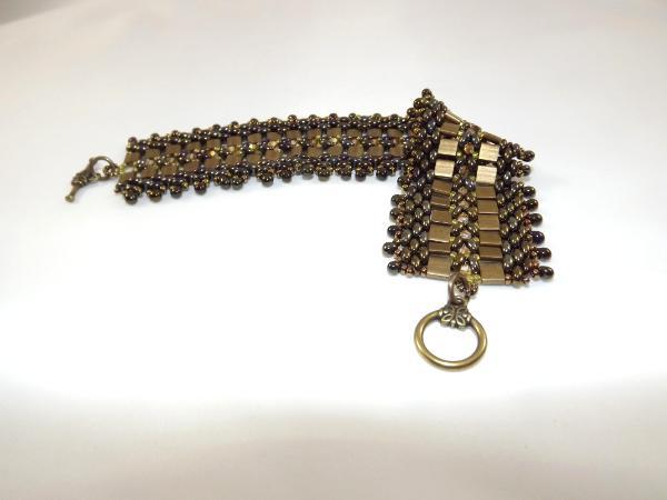 B-9 bronze 2-hole bead bracelet