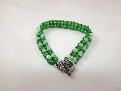 B-83 shades of green chevron bracelet